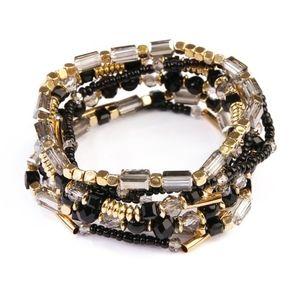 Beaded Stretch Bracelet Set in Black & Gold Multi